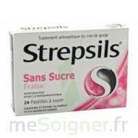 STREPSILS FRAISE SANS SUCRE, pastille édulcorée à l'isomalt, au maltitol et à la saccharine sodique à Paris