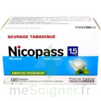 NICOPASS 1,5 mg Past sans sucre menthe fraîcheur Plq/96 à Paris